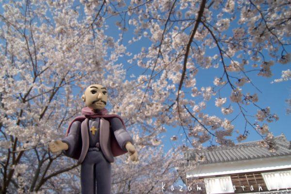 臼杵 丹生島城の桜と大友宗麟